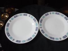 "2 X VINTAGE SIDE PLATES ROYAL CERAMICS BLUE RIBBON  790 8.25"" DIA"
